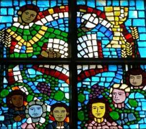 Inside Our Church Stained Glass Window Presence of Christ at Mass